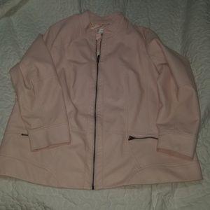 CJ Banks Light Pink Faux Leather Jacket 2X